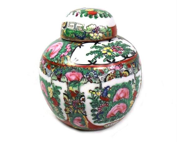 Vintage Rose Medallion Ginger Jar from Hong Kong, Porcelain Ginger Jar, Famille Rose Jar, Pink Chinoiserie Decor, Chinoiserie Jar, Xmas Gift
