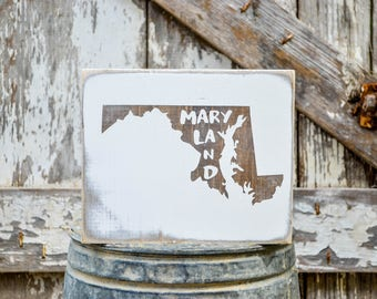 Maryland Wood State Sign | Rustic Decor | Wood Sign | Country Home | Wall Hanging | Farmhouse Decor | Whitewash | Home State Sign