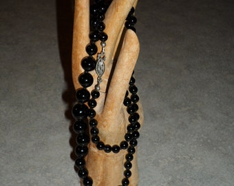 Black Onyx stone beads graduated individually knotted Beaded Necklace
