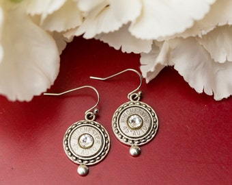 Bullet Casing Jewelry - Circle Dot Bullet Earrings (45) (Nickel Free)