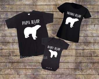 Matching 3 BEARS Family T Shirts With Short Sleeve Bodysuit / Babygrow / Vest Father's Mother's Day Gift Set / Dad Mum Child / Baby Bear