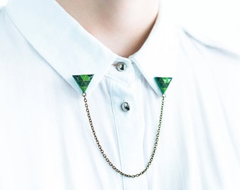 Triangle brooches collar, shirt accessories, green brooch