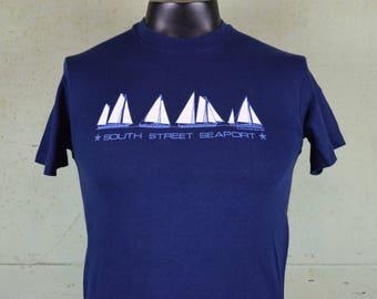 80s vintage soft & thin tee shirt / South Street Seaport / NYC Manhattan / Blue / Tourist Travel / New York City / Hanes / Fits like a Small