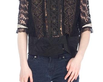 Edwardian Multicolor Metallic And Black Lace Top Size: L