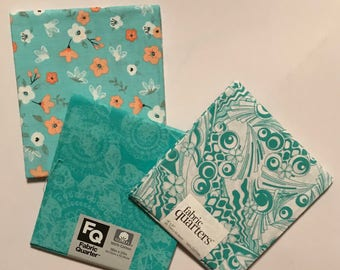3 Fat Quarters - Fabric Quarters, Teal, Turquoise and White Prints for sewing, quilting