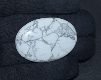 Natural Howlite Cabochon 46x32x6 MM Handmade Howlite Gemstones Cabs Loose Stones Oval Shape 81 Cts