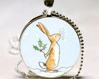 Guess How Much I Love You Necklace Granddaughter Christmas Gift Bunny Rabbit Altered Art Christmas Pendant Charm Necklace
