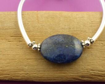 Cobalt Blue Lapis Bangle Bracelet