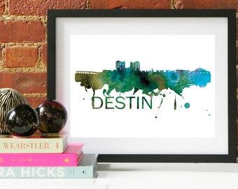 Destin Watercolor Skyline, Destin Skyline, Destin Art, Destin Poster, Destin Print, Destin Art, Destin Map, Destin Wall Art