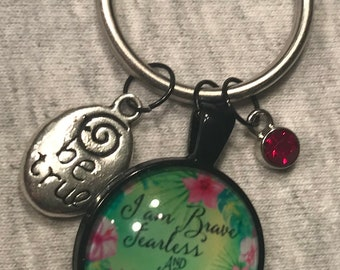 I Am Brave, Fearless, & Strong-Key Ring/Purse Charm