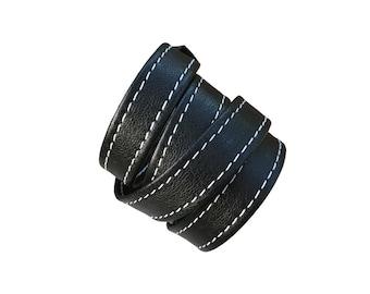 Leather wrap bracelet, Leather wrapping bracelet, black lambskin cuff, leather bracelets for men women, Goth leather cuff, Like Acne Studios