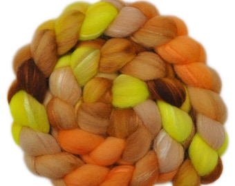 Hand painted combed top roving - Silk / Shetland wool 30/70% spinning fiber - 3.9 ounces - Sunny Smile 1