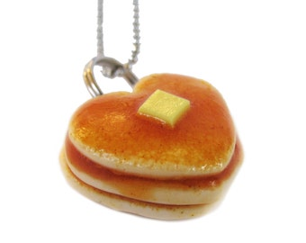 Pancake Heart Necklace, Heart Jewelry, Heart Shaped Pancake, Breakfast, Pancakes, Maples Syrup Pancake, Pancake Necklace