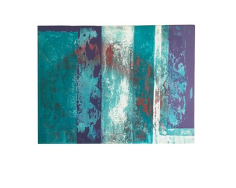 Deep Layers - Acrylic painting abstract art. Turquoise White Plum Purple