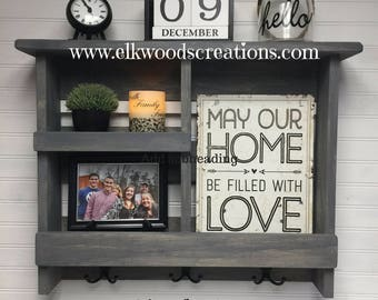 Handcrafted Rustic Shelf | Wall Organizer | Entryway Organizer | Doorway Organizer | Coat Hooks | Entryway Decor | Rustic Decor