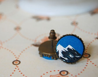 double mountain and blue sky framed post earrings - twin peaks- wooden cabochons