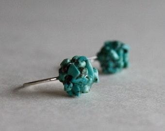 Turquoise earrings - sterling silver earrings - Sky Stone
