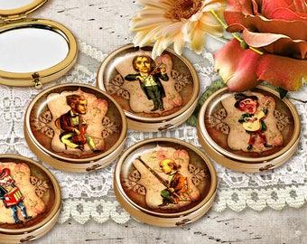 Images digitales pour cabochon, Planche image cabochon - Planche cabochon - Miroir poche - Images Digitale - Caricatures, Musique