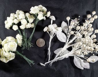 65+ White Ribbon Roses Wire Stems Two Sizes Plus Pearl Stems