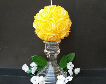 Large Glitter Rose Hand Painted Carved Candle