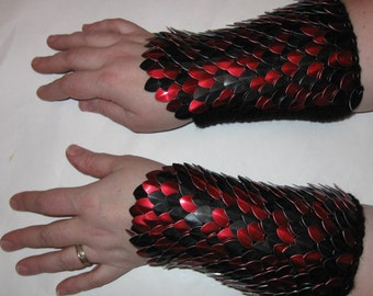 Scalemail Armor Bracers Knitted Dragonhide Red and Black custom made to order