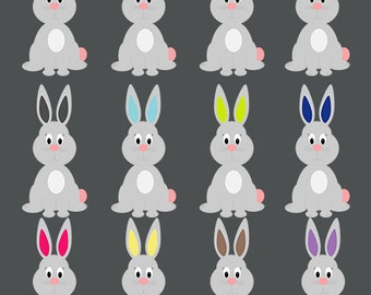 INSTANT DOWNLOAD  12 Easter Rabbits Clipart  Scrapbook for Personal and Commercial Use