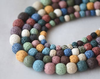 Volcanic Stone Round Beads, Natural Lava Beads Wholesale 6/ 8/ 10/ 12mm, Rainbow Mix Color (#V6080)