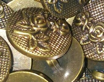 set of 5 flower buttons 18 mm sewing scrapbooking bronze