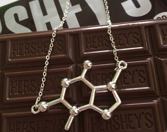 Chocolate lovers theobromine molecule chemistry necklace