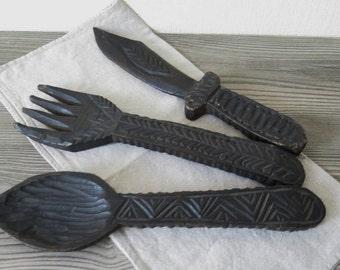 Vintage Carved Black Wood Knife Spoon Fork, Chunky Oversized Large Utensils, Kitchen Decor, Shabby Chic @112