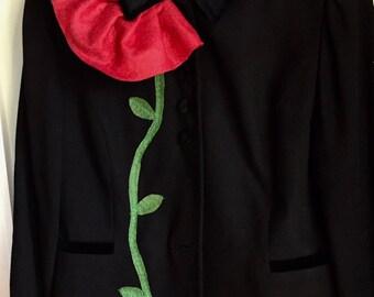Kasper Jacket, embellished, Altered Wearable Art, Up-cycled clothing, Repurposed