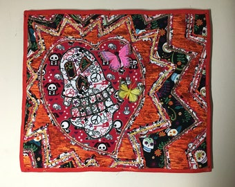 Day of the Dead Skull and Butterfly Fiber Art