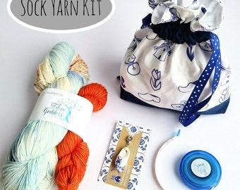 Dutch Inspired yarn kit // Sock Yarn Kit // Dutch Yarn kit // Clog Progress keeper  by Dubbele Dutch Inspired Yarn