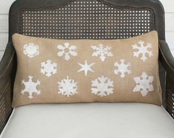 Snowflake Study - Burlap Christmas Pillow - Christmas Pillow - Winter Snowflake Pillow