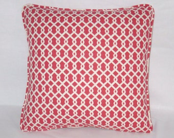 "Strawberry Red Lattice Throw Pillow Cover, 17"" Square Waverly Ellis Cotton Watermelon Pink & White Geometric Modern,  Dorm Decor"