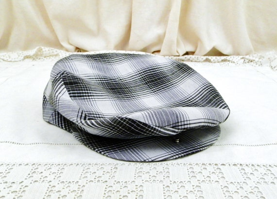 Vintage French Unused Cloth Sporting Flat Cap with Black and White Checkered Pattern, Retro Hat from France, Rural Rustic Headware Accessory