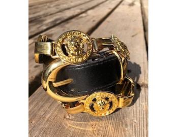 Leather NI 97 Vintage Black & Gold Belt w Lion Heads