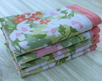 Napkins Everyday Pink Coral Green Set of 5 Vintage Fabric