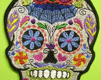 Embroidered Sugar Skull Iron On Applique Patch, Day of the Dead, Dia de los Muertos, Biker patch, Gothic Look, Sugar Skull, Mexico, Mexican