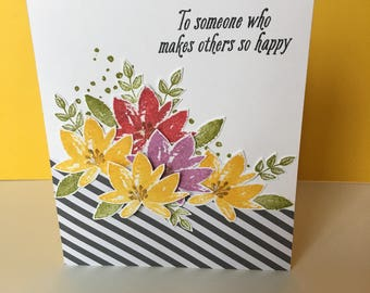Friendship card - Handmade card - Floral card