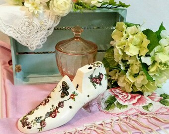 Hand Decorated Antique Cobbler's Last, Embellished Wood Shoe Form, Farmhouse Cottage Decor, Shabby Victorian Inspired Art