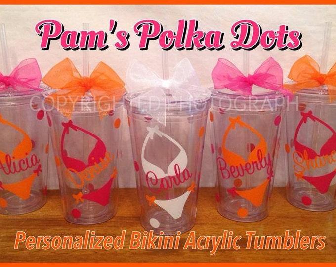 8 Personalized Acrylic BIKINI TUMBLERS with NAME & polka dots Beach Wedding Summer Pool Ocean Nautical Bachelorette Party Gift
