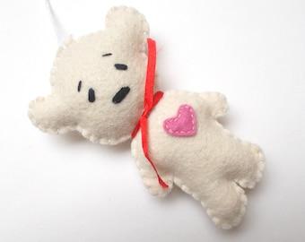 Felt bear ornament - GIFT FOR GRADUATION - felt ornaments - teddy bears - Christmas/Housewarming home decor - hand embroidered