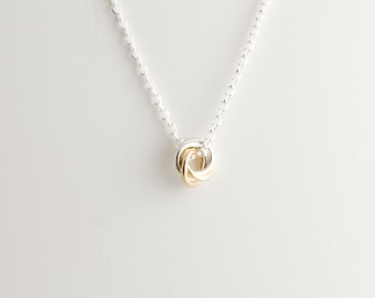 Mini Love Knot Pendant Necklace in Sterling Silver and 14k Gold Filled - Chainmaille Vortex Swirl Eternity