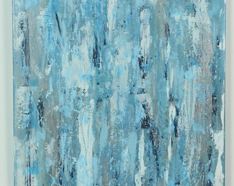 18 x 24 inch abstract acrylic painting, blue, white, silver