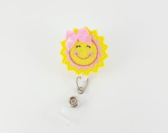 Sunshine - Felt Badge Reel - Nurse Badge Holder - RN Badge Reel - Retractable Badge - Teacher Badge Clip - ID Badge Holder - Name Badge