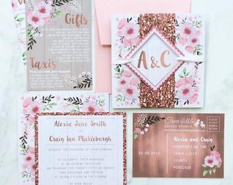 Wedding Invitation Sample, Sample Wedding Invite, Floral Wedding Invite Sample, Wedding Stationery Sample, Watercolour Floral Invitation