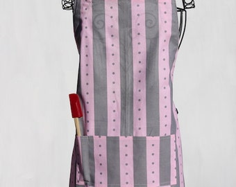 Pink and Gray Stripes Adjustable Chef Apron
