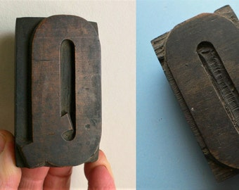 "double Letterpress Wood Type Q and O on the reverse - 3"" Tall 7.5 cm/ Antique Letterpress Wood Printer's Block HAND CARVED"