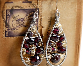 Lion Heart - Strung-Out guitar string teardrop earrings with garnet and citrine